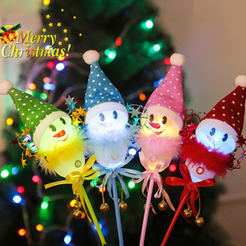 Christmas Snowman Sticks LED Cheering Light Stick Party Supplies Flashing Wand Gift Luminous Toys Holiday Decoration For Kids