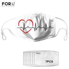 Popular 7Pcs PM2.5 Filter Gas Masks Carbon Insert Anti-dust Masks Washable Mask Reusable Face Mask Non-disposable Moth Mask