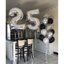 14 pçs preto prata número balões menino menina 25th festa de aniversário celebrar balão menina 25th anos de idade decorações de festa fornecimento