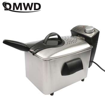 DMWD Electric Fryer Household Single cylinder thermostat no fumes 3L chicken fries machine fashion mode Nonstick pan Inner tank