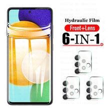 Película protetora de hidrogel para samsung galaxy a42 a52 a32 a72 5g protetores de tela macia lente de câmera de vidro temperado a42 5g a32 5g