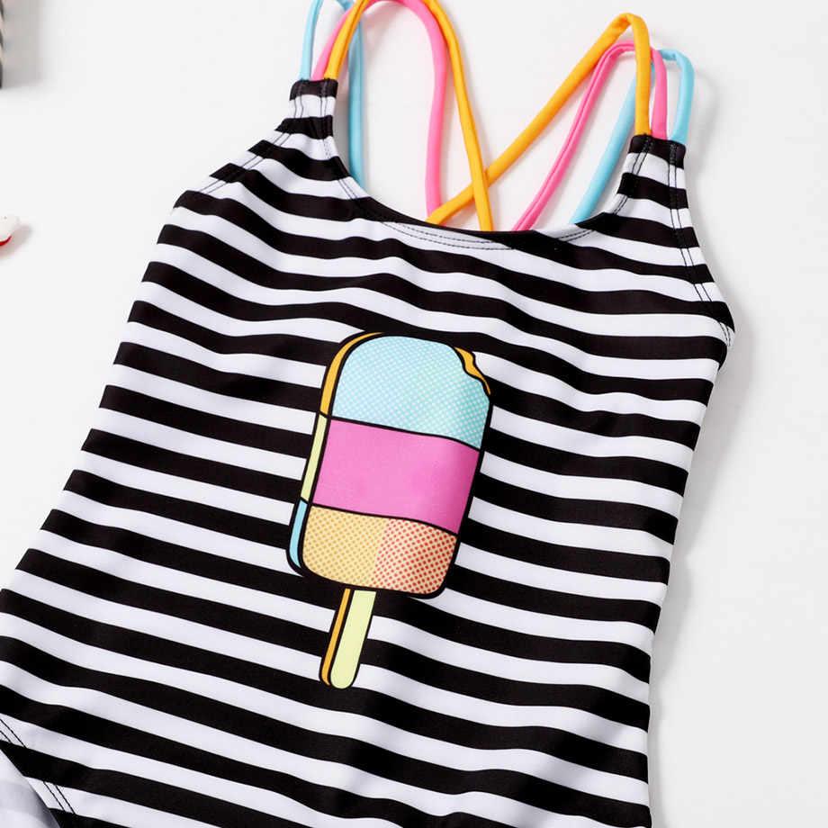 Listrado um pedaço maiô meninas crianças banho de sorvete impressão bebê meninas maiô cross back crianças beachwear