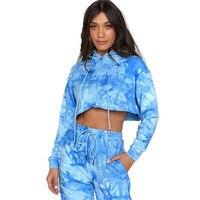 Komplet niebieskich dresów damskich bawełnianych farbowanych metodą tie dye 1