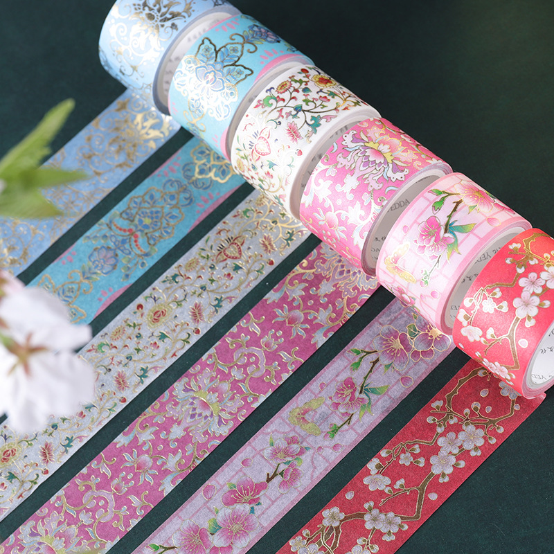 2.5cm*3m Chinese Traditional Flowers Gilding Washi Tapes Scrapbooking Diy Bullet Journal Masking Tape Decoration Stationery