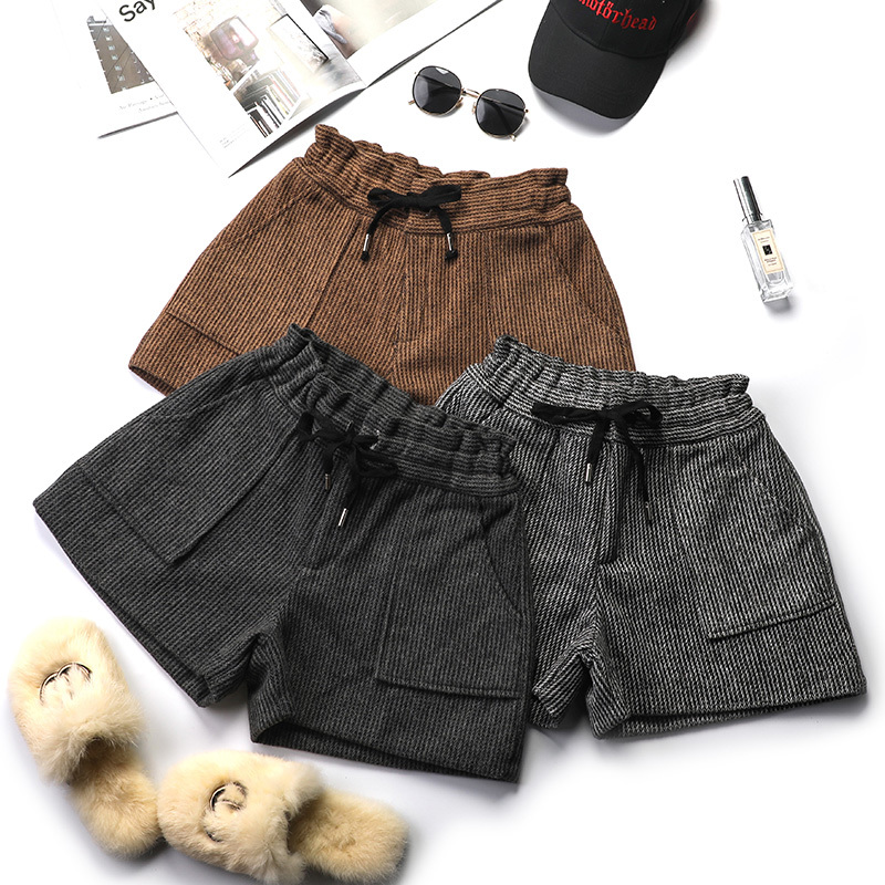 Striped High Waist Autumn Shorts Women Woolen Thickening Casual Drawstring Pocket Gray Coffee Wide Leg Trouser Bottoms