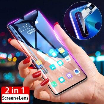 Перейти на Алиэкспресс и купить 2-в-1 полная защита для экрана из закаленного стекла для Oppo A5 2020 A9 2020 A5s F11 Realme 5 Pro 3 Рино 2 F9 Realme5 защитные пленки