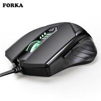 Mouse forka  clique silencioso  6 botões usb  led  cabo óptico  ergonômico  para pc e laptop gamer jogador