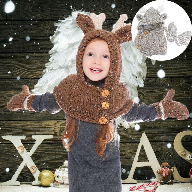 Cute Kids Boys Girls Animals Elk Hat Scarf Gloves Set Autumn Winter Warm Button Decoration Christmas Celebrations Knitted Hat