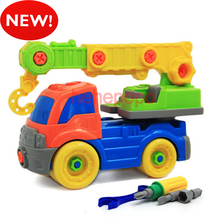 26cm Crane New Kids Screwing Blocks Fire Truck Cartoon Toy Car Engineering Model Building Kits Plastic Toy Set