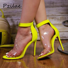 Pzilae модный, из ПВХ, прозрачный ремень женские открытые сандалии; сезон лето; Обувь на высоком каблуке на молнии сзади; модельные вечерние туфли; большой размер 42
