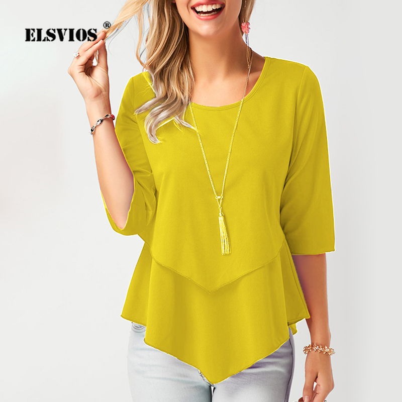 2020 Spring O Neck Half Sleeve Chiffon Blouse Women Plus Size Solid Loose Casual Shirts Elegant Summer Womens Tops And Blouses