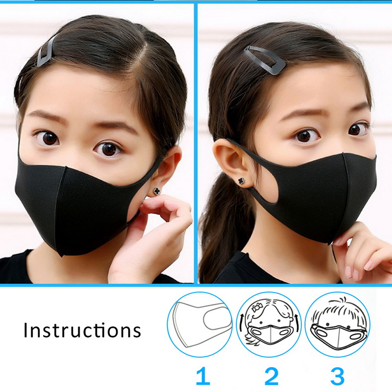 3Pcs 3D Black Mask Anti Dust Children Masks Anti Virus Face Mask Washable Reusable Men/Women/Child Windproof Mouth Mask In Stock