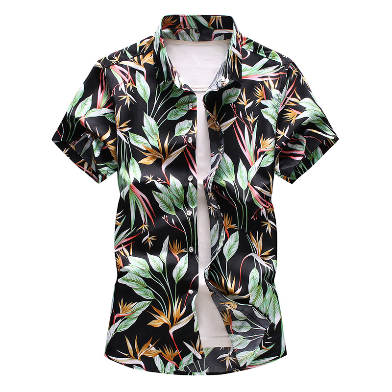 Hawaiian Shirt Men Leaf Print Slim Short Sleeve Shirts Summer Fashion Wild Floral Top M-7XL New Arrival
