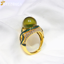 925 Sterling Silver Natural Blue Amber Ring For Women Luxury Gemstone Gold Plated Open Rings Fine Jewelry Engagement Party Gift
