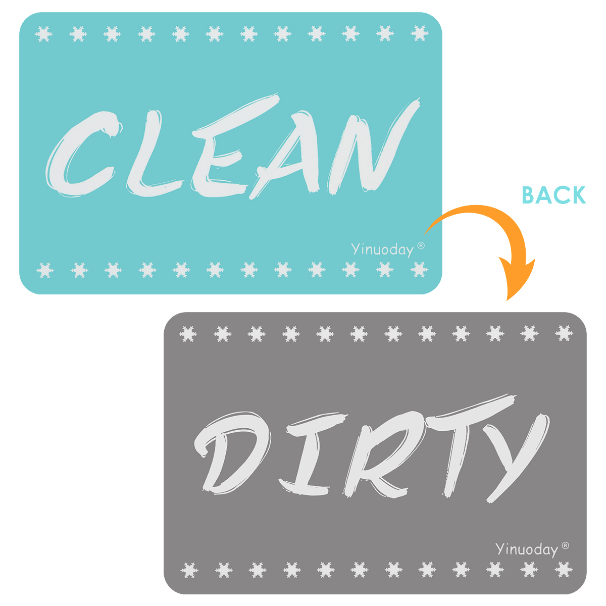 Dishwasher Magnet Clean Dirty Sign Reversible Double Sided Dish Washer Clean Dirty Indicator image
