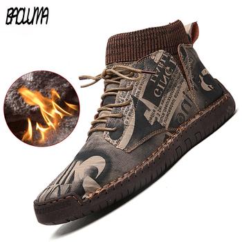 Nowe zimowe męskie buty grube pluszowe ciepłe męskie buty śniegowe zamszowe męskie botki ręcznie męskie buty zimowe odkryte męskie buty tanie i dobre opinie BAOLUMA Buty śniegu CN (pochodzenie) Flock ANKLE Stałe Plush Okrągły nosek RUBBER Zima Mieszkanie (≤1cm) Men s winter and spring boots