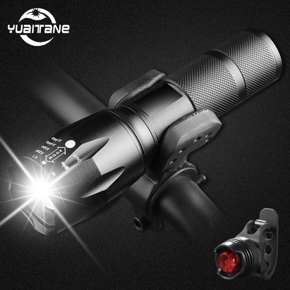 Bicycle Light 8000 Lumens T6 Cycling Lamp Light Bike light Front 5Modes Torch Waterproof ZOOM <font><b>Flashlight</b></font> 18650 battey+Bike <font><b>Mount</b></font> image