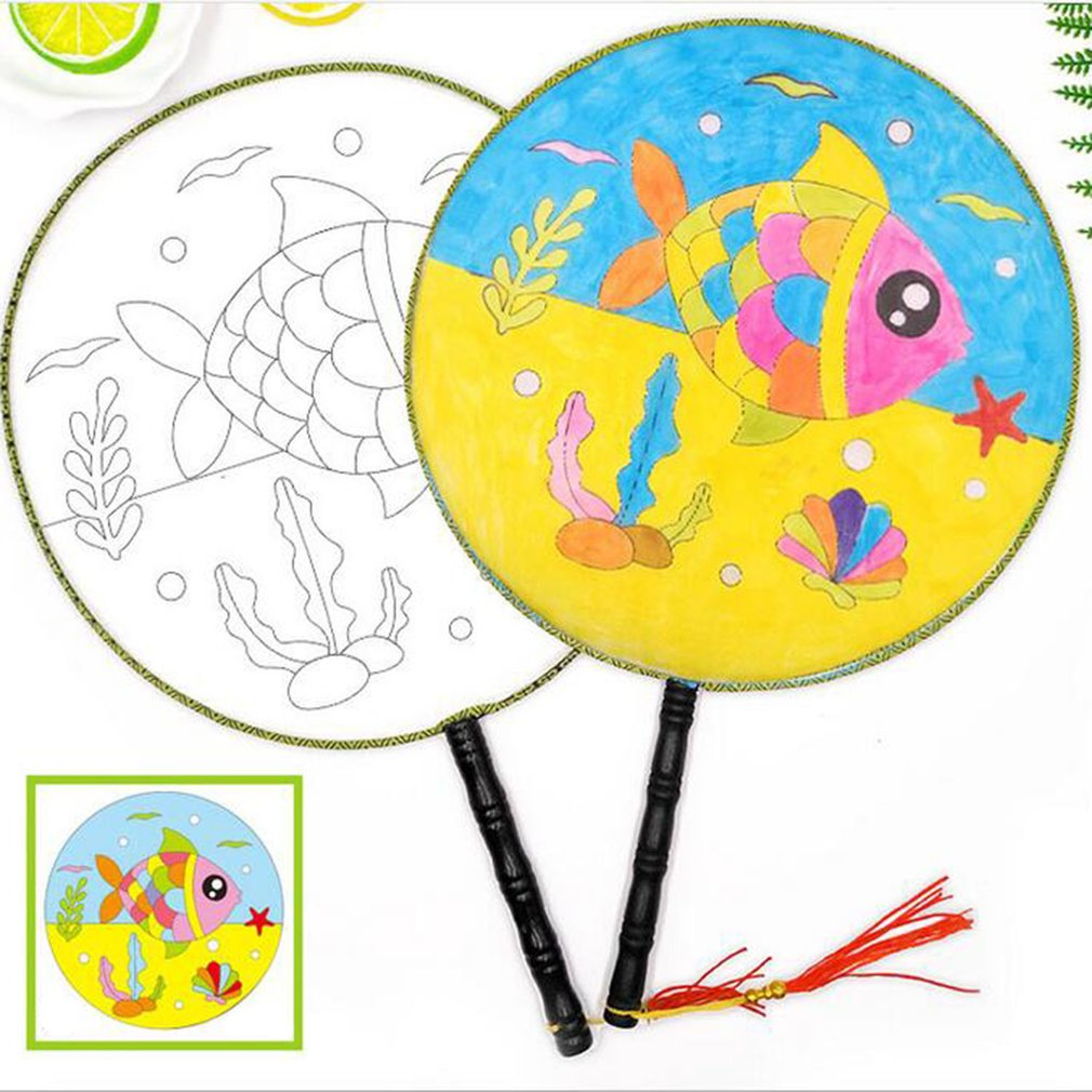Round Fan Children Diy Hand-painted Blank Fan Painting WhitePalace Fan Cool Fan Kindergarten Creative Art Materials