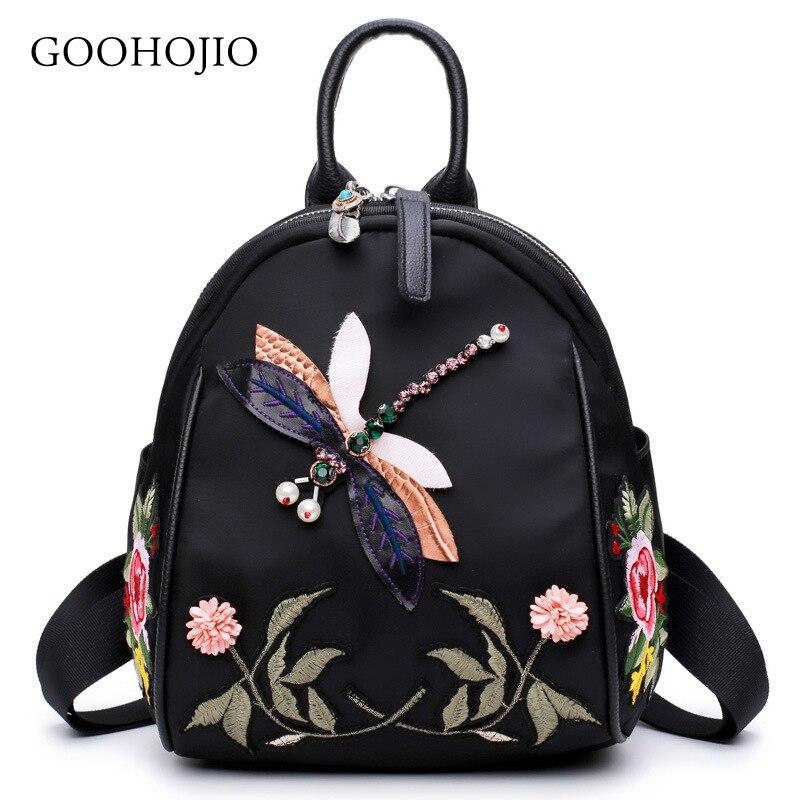Fashion Women Mini Backpack Flowers Embroidery Schoolbag For Women Teenage Girls Nylon Female Backpacks Feminina Crossbody Bags