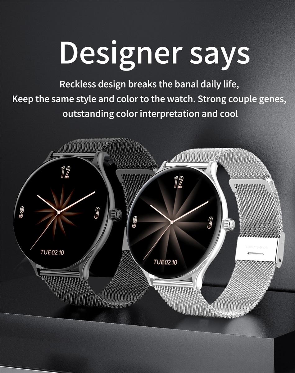 H127304dc93374dae98d94ddac3e9f06fe 2021 New Full circle touch screen Women smart watch Luxury steel Watch Band Fashion smartwatch Sport Activity tracker For Xiaomi