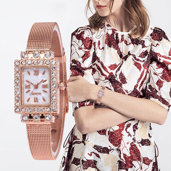 цена 2020 Watch Women Dress Stainless Steel Band Analog Quartz Wristwatches Fashion Luxury Ladies Golden Rose Gold Watch Clock Analog онлайн в 2017 году