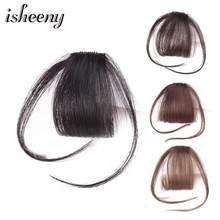 Isheeny noir brun Remy frange Clip en cheveux humains frange 10g naturel mince Clip frange pièce