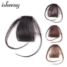 Human-Hair-Bangs Brown Clip-In Isheeny Piece Remy-Fringe Black Natural 10g