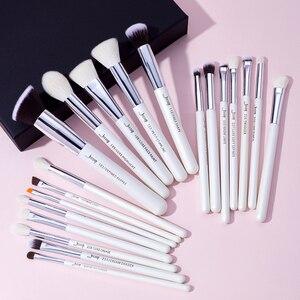 Image 5 - Jessup Juego de pinceles de maquillaje profesionales, color blanco perla/plata, herramientas de belleza, brocha de maquillaje, kit de cosméticos, base en polvo, pintura de lápiz