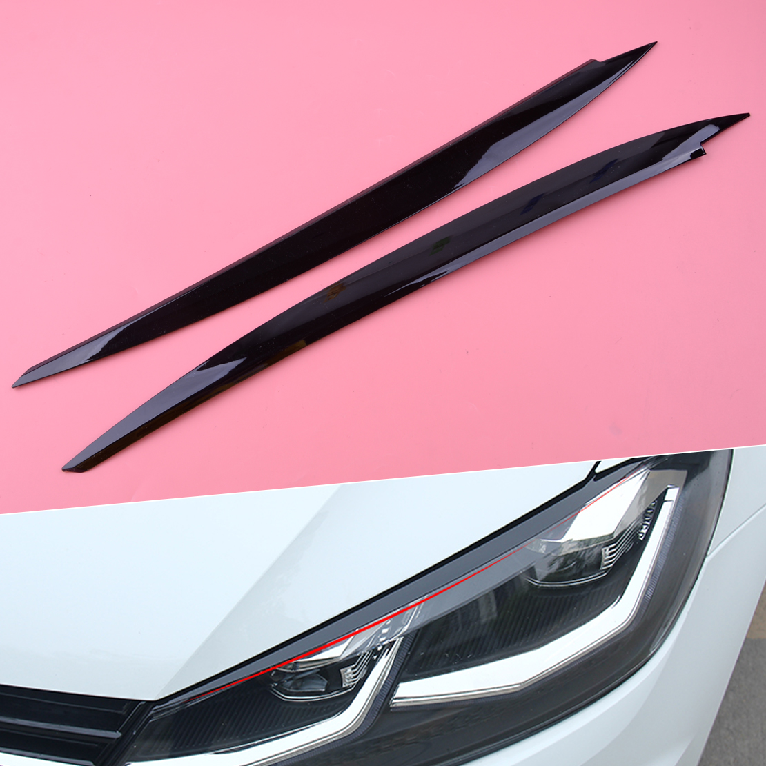 DWCX 2 шт. ABS черный головной убор, декоративная накладка на веки для бровей, подходит для VW Golf 7 VII GTI GTD GTE R MK7