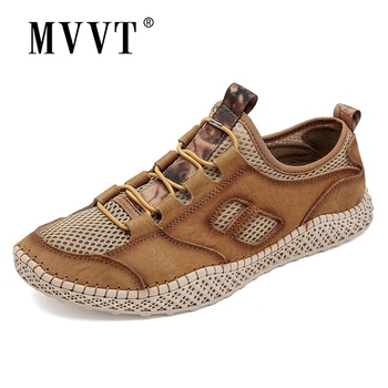 men Breathable Summer Men Sneakers Genuine Leather Casual Shoes Men Comfortable Men Loafers Leather Men Shoes Walking Zapatos