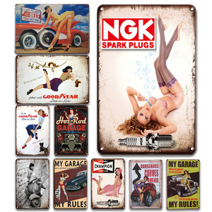 NGK Spark Plugs Tin Sign Vintage Champion Sticker Metal Plate Garage Painting Wall Decor Plaque Pin Up Poster Room Decoration