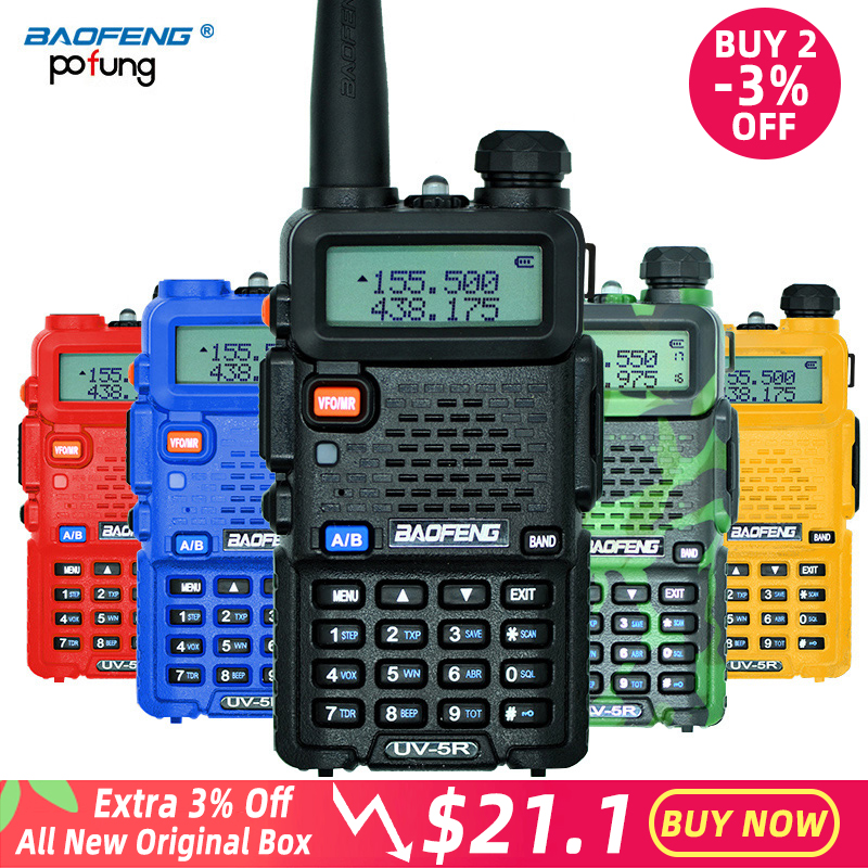 Baofeng UV-5R walkie talkie profissional cb estação de rádio baofeng uv 5r transceptor 5 w vhf uhf portátil uv5r caça rádio presunto