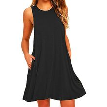 Women's Summer Casual Swing T-Shirt Dresses Beach Cover up with Pockets