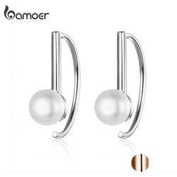 BAMOER Silver 925 Jewelry Earrings Big Circle Geometric Stud Earrings for Women Shell Pearl Earings Female Korea Jewelry SCE604