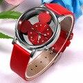 Модные милые женские часы для девочек, женские ажурные часы с красным кожаным ремешком, кварцевые наручные женские часы, распродажа, Прямая ...