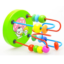 Hot Sale Boys Girls Wood Around Beads Wire Maze Toy Kids Montessori Educational Wooden Puzzles Toys Roller Coaster Random Color puzzles alatoys bb216 play children educational busy board toys for boys girls lace maze toywood