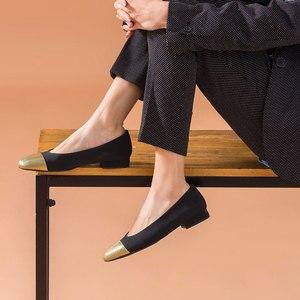 Image 3 - BeauToday 얕은 펌프 여성 정품 암소 가죽 천으로 라운드 발가락 슬립 온 봄 가을 레이디 로우 힐 신발 수제 18034