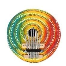 Качество случайный цвет калимба большой палец пианино 7 клавиш настраиваемый Кокосовая оболочка окрашенный музыкальный инструмент