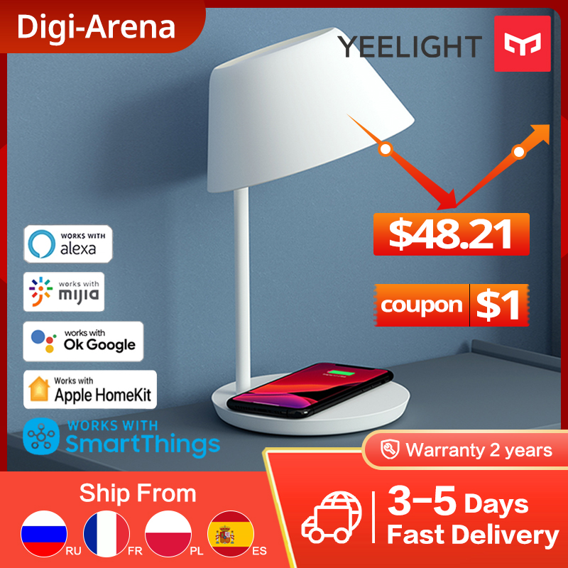 Yeelight Bedside Lamp Smart WIFI Touch Dimmable  18W LED  Wireless Charging For iPhone YLCT03YL