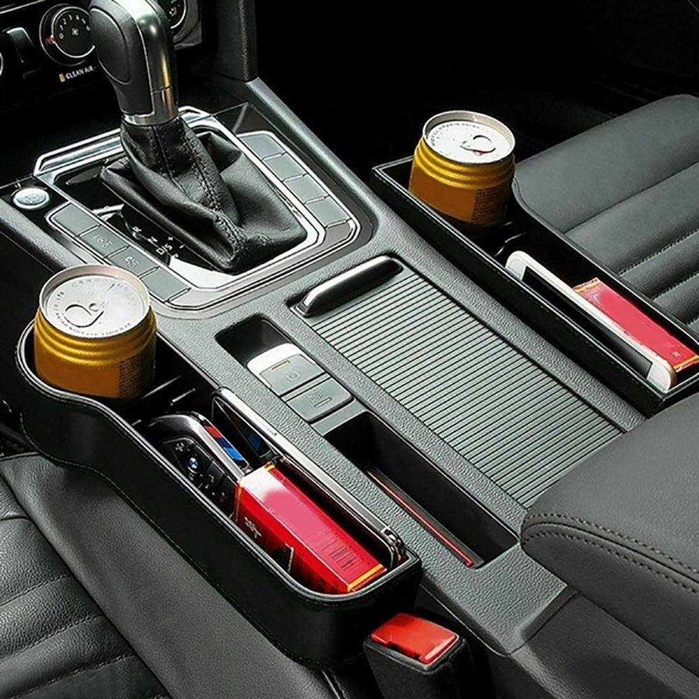 Baru 1 Pasang Universal Auto Car Seat Celah Kotak Penyimpanan Plastik Cangkir Dudukan Telepon Organizer Dilindungi Desain Aksesoris title=