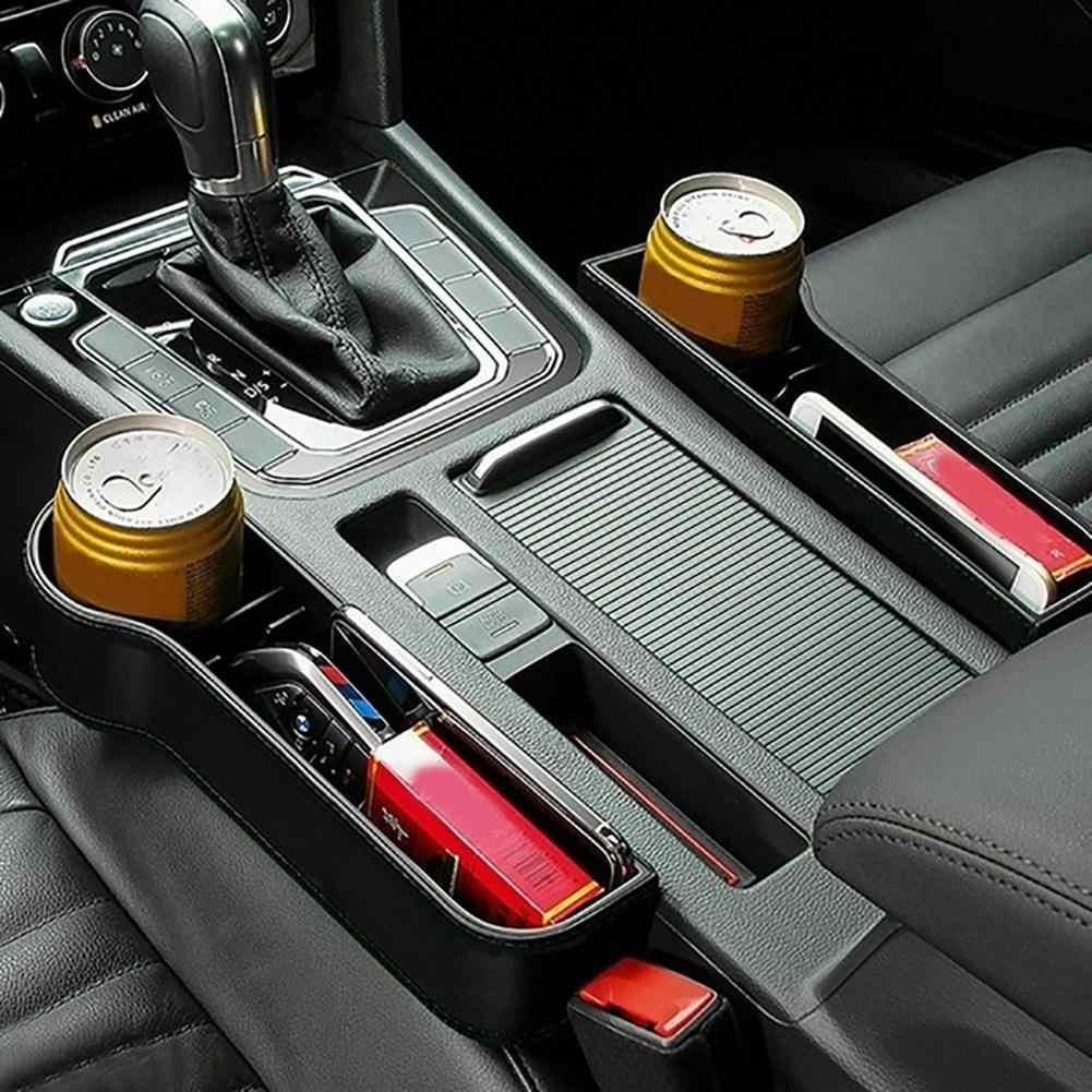 Yeni 1 çift evrensel oto araba koltuğu çatlak şeffaf plastik saklama kabı bardak telefon tutucu organizatör ayrılmış tasarım aksesuarları