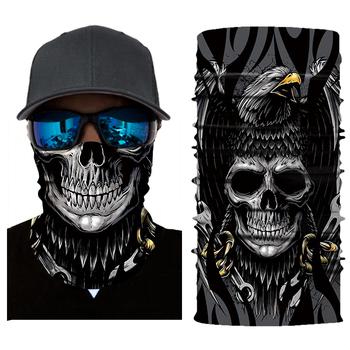 Nowa maska motocyklowa Biker kominiarka straszny Masque twarzy tarcza Unisex maska czaszka Mascarilla tusz do rzęs Moto konna bandany tanie i dobre opinie Szybkie suche Anty-uv Oddychająca Wiatroszczelna Plus size AC001 45*26cm (One size fits all) Skiing Motorcycling Running Biking Trekking Mountain Climbing