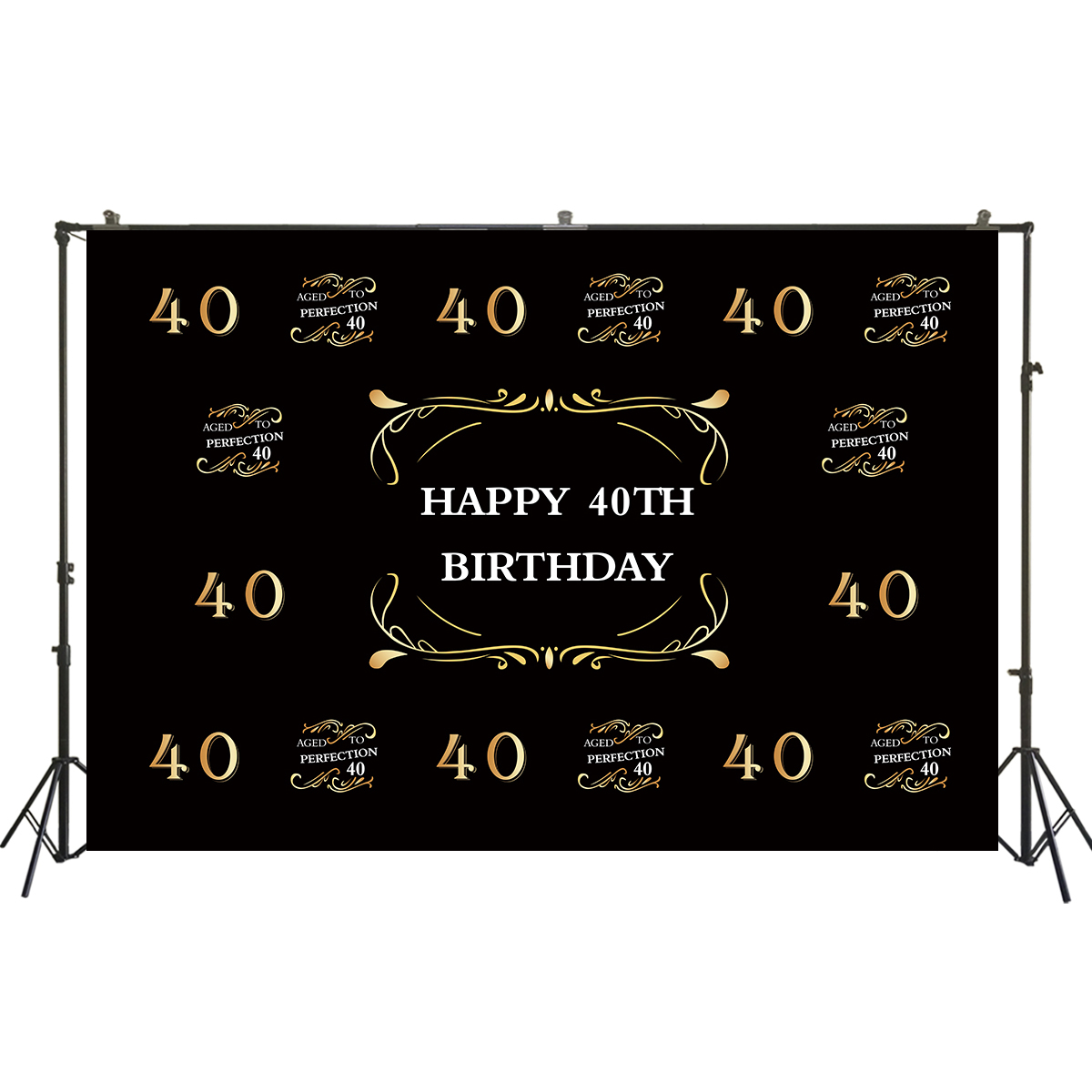 <font><b>40th</b></font> <font><b>Birthday</b></font> <font><b>Backdrop</b></font> Gold 40 Years <font><b>Birthday</b></font> Carnival Forty Years Old Age <font><b>Birthday</b></font> Party Decor Black Photo Background W2246 image