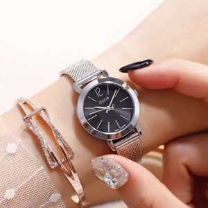 Image 4 - Reloj de pulsera de acero dorado y rosa para mujer, pulsera de malla plateada, relojes de cuarzo para chica, reloj sencillo informal para adolescentes