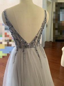 Image 2 - 2020 High Split Sexy V Neck Prom Dresses Tulle A Line Long vestidos de Formal Party Backless Elegant gala jurken Evening Gowns