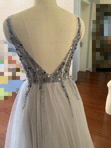 Image 2 - Robe de bal de forme trapèze, col en V, élégante, Tulle, échancré, dos nu, robes longues, robes de gala, 2020