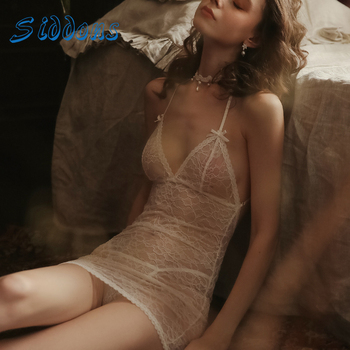 SIDDONS Summer Lace Dress Sexy Nightgowns Women Bowknot Sling Nightdress Female See-Through Lace Sleepdress Women Nightwear Sets see through longline lace dress