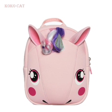 цены 3D Cartoon Animal Unicorn neoprene School Bag Boy Student Kid kindergarten Orthopedic Satchel for girl Children mochila Backpack