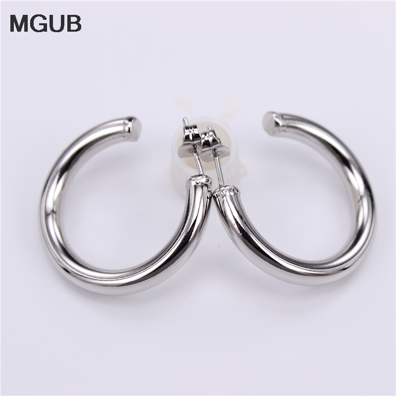 Wholesale Diameter 28mm-50mm Stainless Steel Big Round Hoop Earrings Gold color circle creole earrings gifts for women LH908