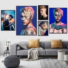Justin bieber cartaz da lona cartaz personalizado cantor música posters impressão arte da parede da lona bar café sala de estar decoração presente